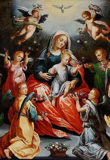 Hans Rottenhammer - The Virgin Mary and the Child flanked by St. Barbara and St. Catherine of Alexandria.jpg